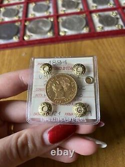 REGNO D' ITALIA UMBERTO I 20 LIRE 1891 MARENGO ORO sigillata SPL/FDC