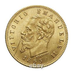 REGNO D' ITALIA Vittorio Emanuele II 5 lire 1865 FDC Periziata MORUZZI ROMA