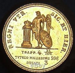 Regno Delle Due Sicilie Ferdinando II 3 Ducati 1854 Fdc Raro (id 55900)