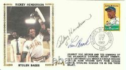 Rickey Henderson Lou Brock Dual Signed Autographed First Day Cover JSA U06584