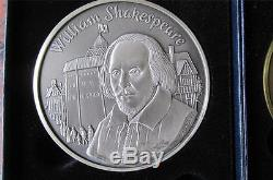 Royal Mint 10 Oz SILVER 2001 CALENDAR Medal WILLIAM SHAKESPEARE FDC + Bronze
