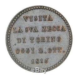 SAVOIA VITTORIO VITTORIO EMANUELE I Medaglia 1816 Visita Zecca Torino FDC Rosso
