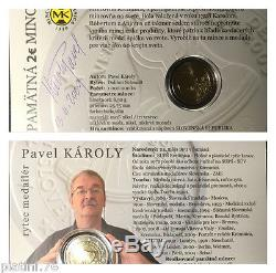 SLOVACCHIA 2 Euro Commemorativo 2009 Coincard Folder Firma Sign Karoly FDC BU