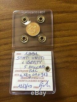 STATI UNITI 5 DOLLARI LIBERTY 1991 4,18 gr ORO 917 sigillata FDC SUBALPINA