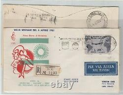 STORIA POSTALE- 1961 GRONCHI ROSA L. 205ricoperto +175+185 su FDC Venezia E/3054