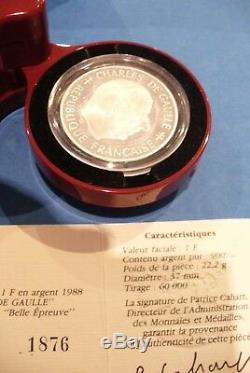 SUPERBE COFFRET DE GAULLE 1 F OR 920 (9Gr.) & ARGENT 1 F 900 / COFFRET NEUF