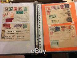 Schachtel und Album mit Belegen und Ersttagen ab 30er Jahren, Trachten FDC, Flug