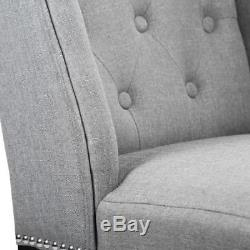 Set of 2 Grey Elegant Dining Side Chairs Button Tufted Fabric with Nailhead 8FH