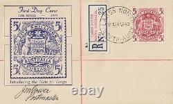 Stamp 5/- coat of arms Miller Bros cachet FDC register Largs North signed Gower