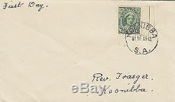 Stamp Australia 1&1/2d green queen mother definitive plain FDC KOONIBBA, RARE
