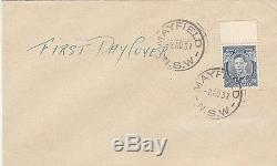 Stamp Australia 3d blue KGV1 die 1A definitive on plain FDC, Mayfield RARE