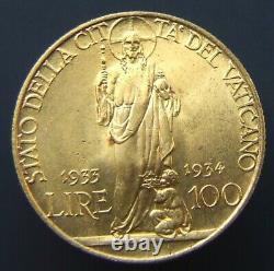 Stato Della Citta' Del Vaticano Pio XI Lire 100 1933-1934 Fdc (id 102464)