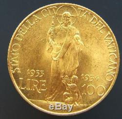 Stato Della Citta' Del Vaticano Pio XI Lire 100 1933-34 Fdc (id 55884)