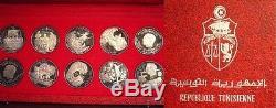 Tunisia serie di 10 monete in argento da 1 dinaro 1969 FDC