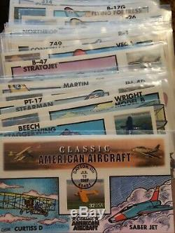 US (1997) COLLINS HAND PAINTED FDC's CLASSIC AMERICAN AIRCRAFT Full. Set 21 Cover