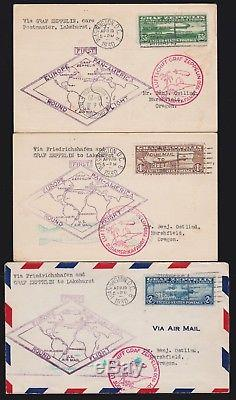US C13-C15 Graf Zeppelin Set of Matched First Day Flight Covers SCV $2900