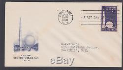 US Planty 853-4 FDC. 1939 3c NY World's Fair, first Artcraft cachet