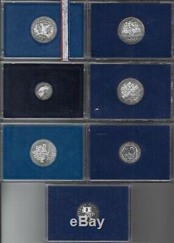 Ve République, 7 coffrets MdP BU 10 et 100 franc, FDC, argent, voir détail 39
