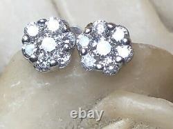 Vintage Estate 14k White Gold Diamond Earrings Flower Halo Stud Signed Fdc