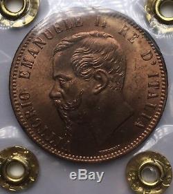 Vittorio Emanuele II 10 centesimi 1867 H Birmingham FDC Eccezionale rosso