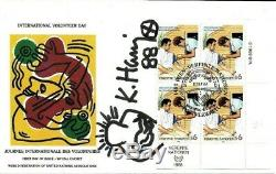 WFUNA U. N. FDC Hand Signed Keith Haring With Original Autographed Art Drawing