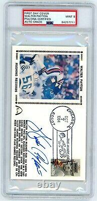 Walter Payton Signed Gateway Stamps FDC PSA/DNA MINT 9 Chicago Bears Autograph
