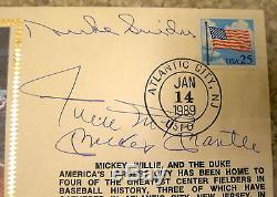 Willie Mays, Mickey Mantle, Duke Snider Autographed Gateway First Day Cover Fdc